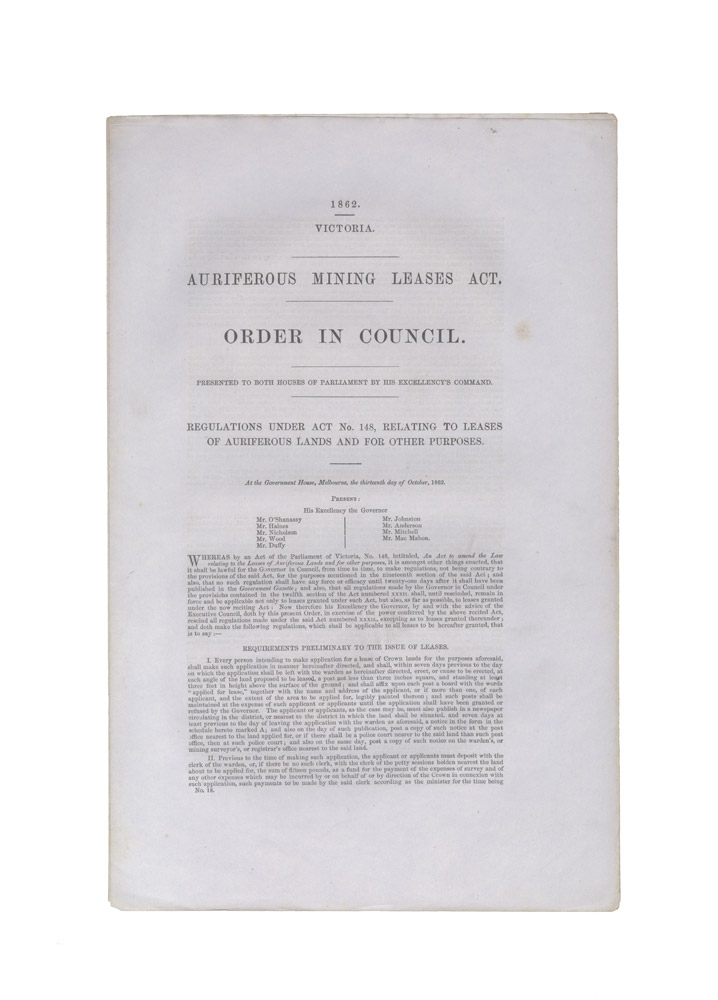 Auriferous Mining Leases Act. Order in Council… Regulations under Act No. 148, relating to leases of auriferous lands and for other purposes. PARLIAMENT OF VICTORIA.