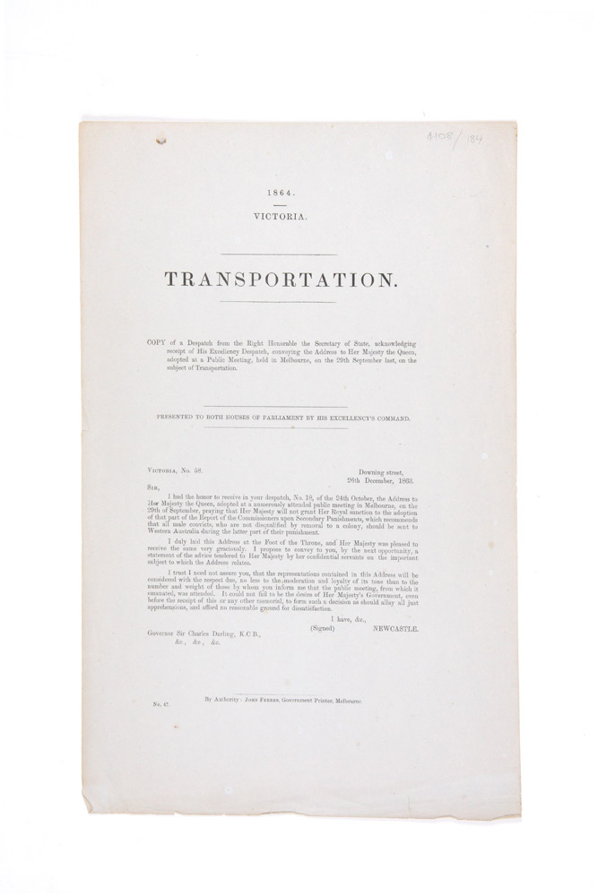 Despatch from the Colonial Secretary to Governor Sir Charles Darling concerning the removal of convicts from Victoria to Western Australia. Governor Sir Charles DARLING.