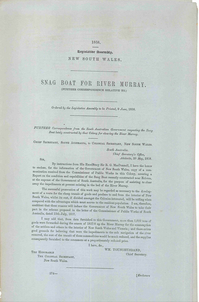 Legislative Assembly of New South Wales. Snag Boat for the River Murray… 9 June, 1858. PARLIAMENT OF NEW SOUTH WALES.