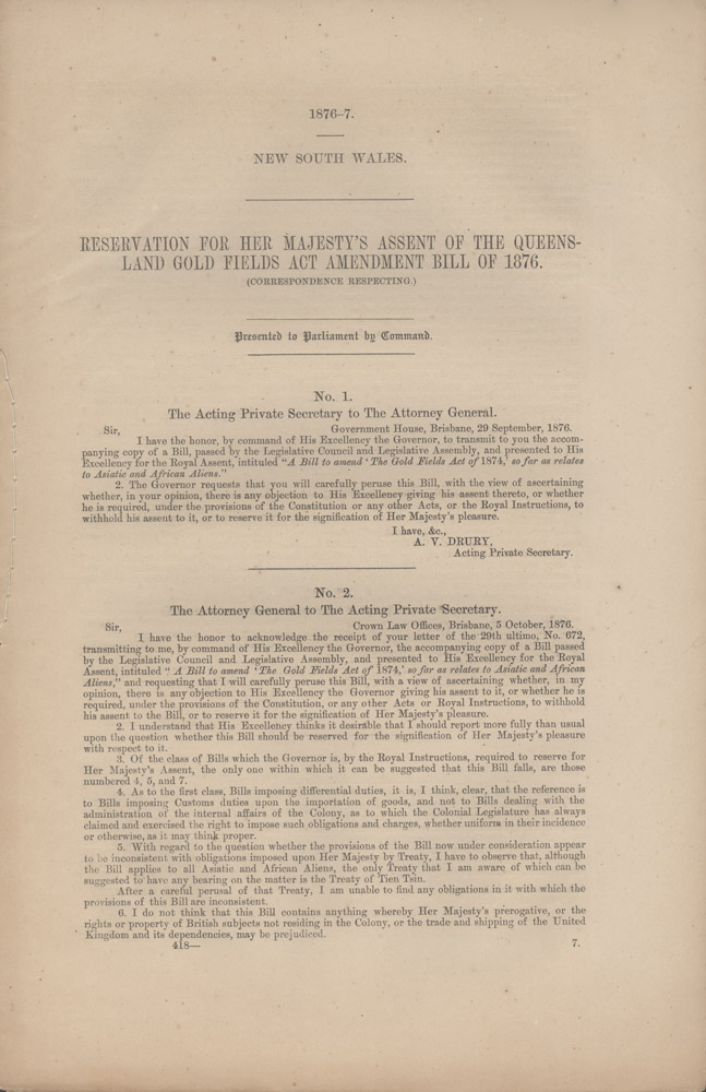 Reservation for Her Majesty's Assent of the Queensland Gold Fields Act Amendment Bill of 1876. Correspondence Respecting. QUEENSLAND GOLDFIELDS, PARLIAMENT OF NEW SOUTH WALES.