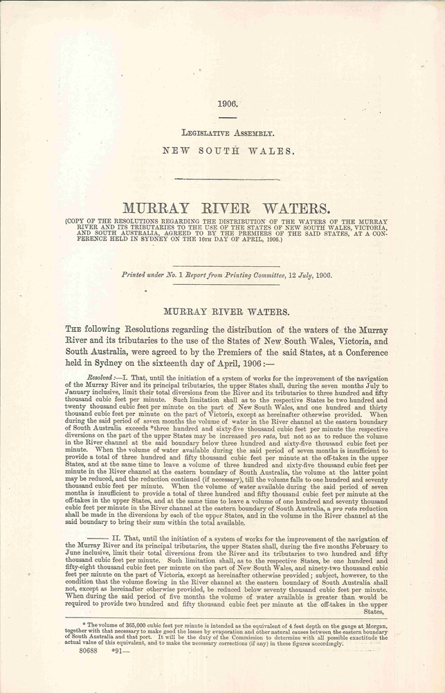 Legislative Assembly of New South Wales. Murray River Waters… 12 July 1906. PARLIAMENT OF NEW SOUTH WALES.