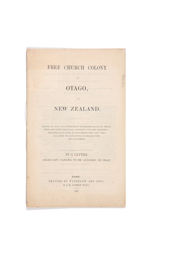 Free Church Colony at Otago, in New Zealand. Powers of local self-government established by act of Parliament…. William Walter CARGILL.