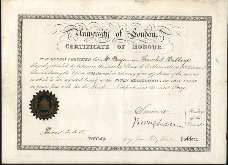 University of London Certificate of Honour. Benjamin Herschel BABBAGE.