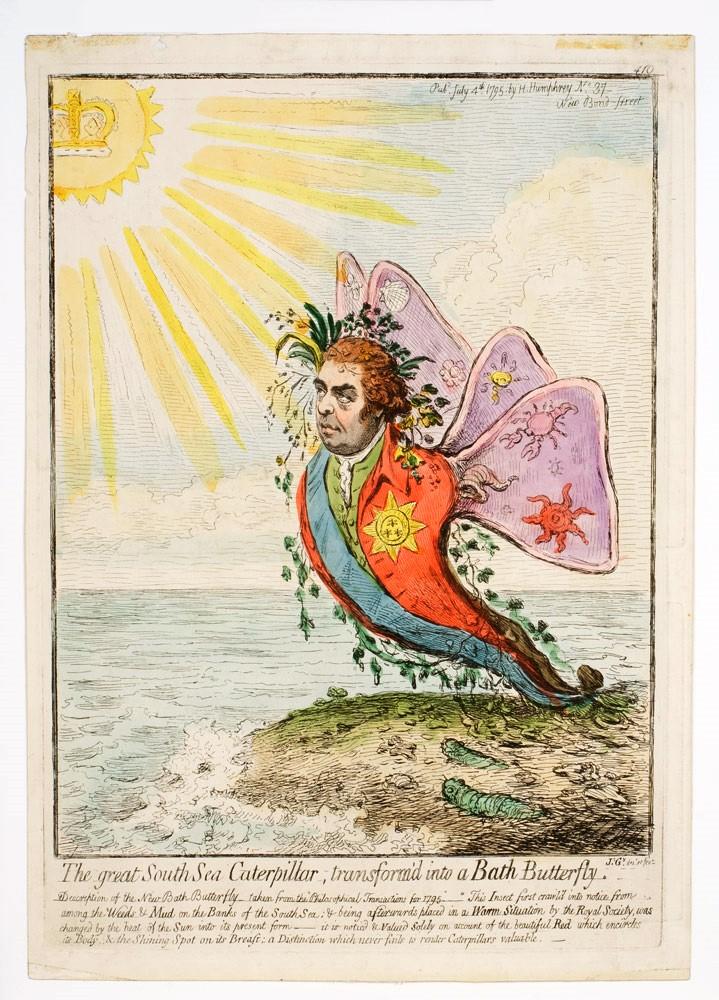 The Great South Sea Caterpillar transform'd into a Bath butterfly. SIR JOSEPH BANKS, James GILLRAY.