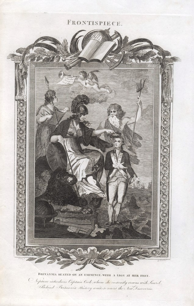 Britannia crowns Captain Cook, flanked by the Gods of Empire. Cornelius PAAS.