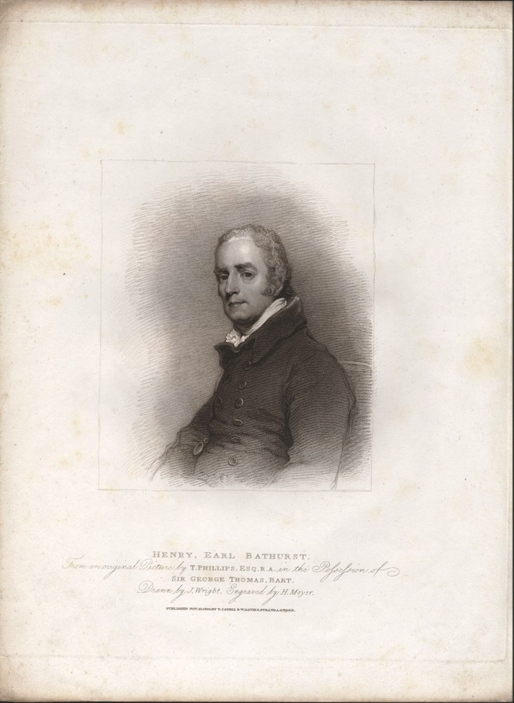 Henry, Earl Bathurst. From an original picture in the possession of Sir George Thomas, Bart. Drawn by J. Wright, engraved by H. Meyer. Thomas PHILLIPS, Henry MEYER, after, engraver.