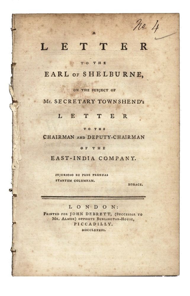 A Letter to the Earl of Shelburne, on the Subject of Mr. Secretary Townshend's Letter to the Chairman and Deputy-Chairman of the East India Company. EAST INDIA COMPANY, Sir Charles COOTE, Earl of Bellamont.