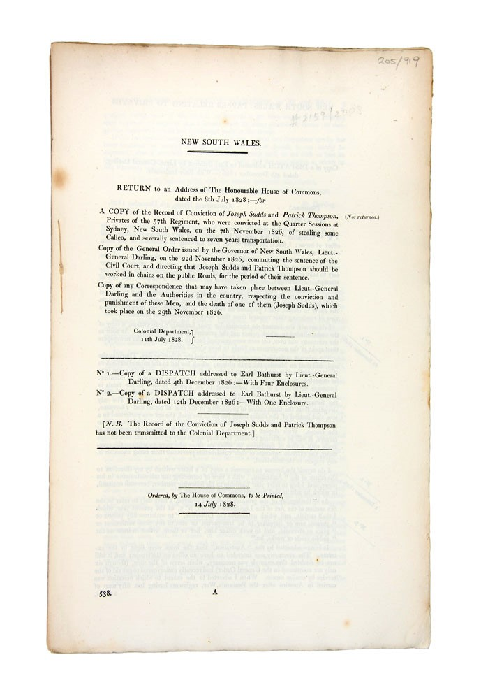 Return… for a Copy of the Record of Conviction of Joseph Sudds and Patrick Thompson, Privates of the 57th Regiment…. Governor Ralph DARLING.