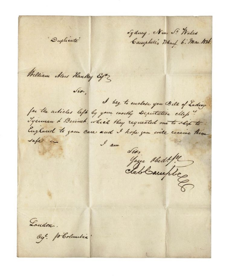 Autograph letter from Robert Campbell to the founder of the London Missionary Society, William Alers Hankey. Robert CAMPBELL.