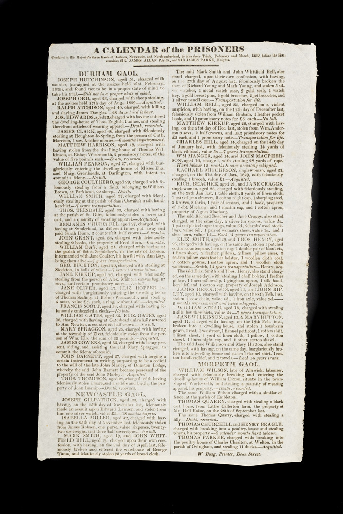 A Calendar of the Prisoners contained in His Majesty's three Gaols of Durham, Newcastle and Northumberland, to take their trials, February and March, 1830. TRANSPORTATION.
