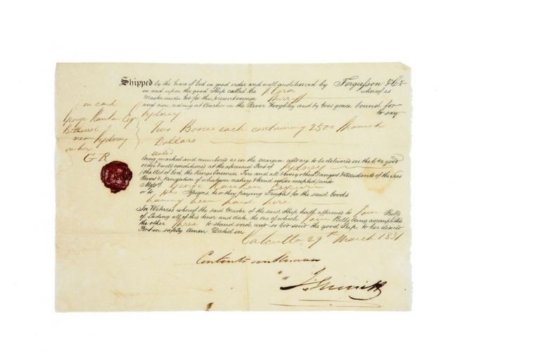 Manuscript letter and bill of loading from Fergusson & Co, Calcutta to George Ranken, Bathurst. RANKEN, FERGUSSON, CO.