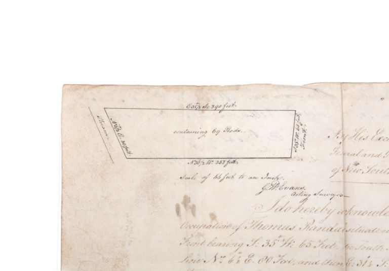 Land grant on vellum signed by Governor King, and with a small site-sketch by G.W. Evans. SIMEON LORD, Philip Gidley KING.