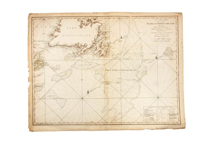 A Chart of the Banks of Newfoundland, Drawn from a great number of hydrographical surveys, chiefly from those of Chabert, Cook and Fleurieu, connected and ascertained by astronomical observations. COOK: NEWFOUNDLAND SURVEY, Captain James COOK, Michael LANE.