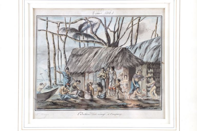 """Original sketch in watercolour, pen and ink, captioned """"L'Intérieur d'un ménage, à Coupang"""" and dated at the top """"Timor 1818"""" FREYCINET VOYAGE, Jacques ARAGO."""