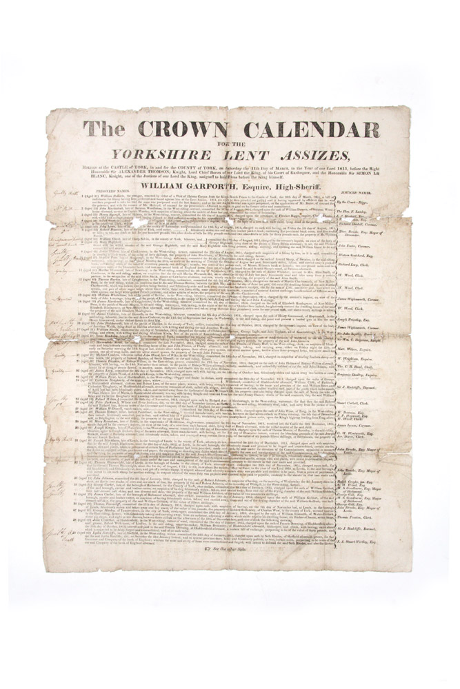 The Crown Calendar for the Yorkshire Lent Assizes, holden at the Castle of York, in and for the County of York, on Saturday the 11th Day of March, in the Year of Our Lord 1815. transportation.