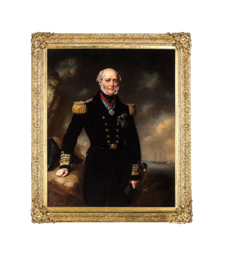 Portrait of Admiral Sir George Seymour as commander-in-chief at Portsmouth, with his flagship HMS Victory beyond. Sir George SEYMOUR, John Lindsay LUCAS.