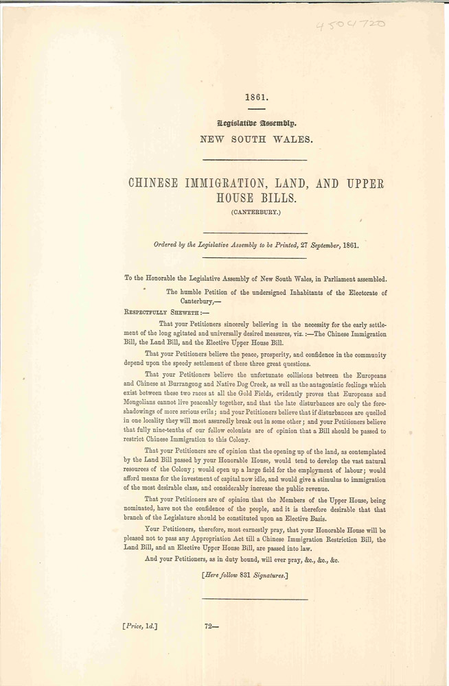 Chinese Immigration, Land, and Upper House Bills. PARLIAMENT OF NEW SOUTH WALES.