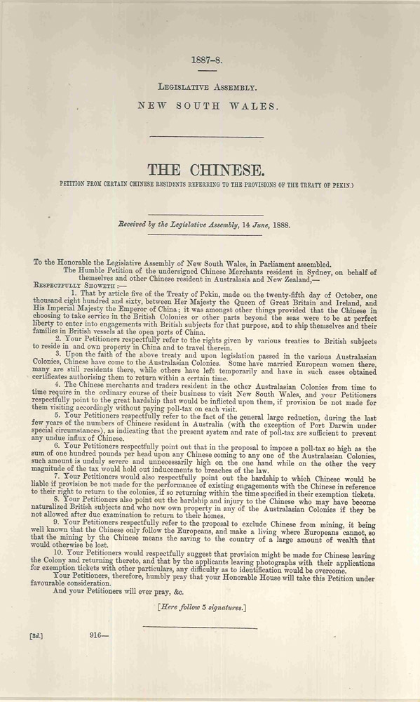 The Chinese. Petition from certain Chinese residents referring to the provisions of the Treaty of Pekin. PARLIAMENT OF NEW SOUTH WALES.
