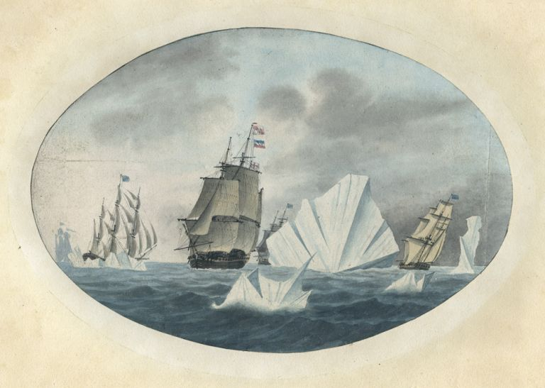 Original watercolour of a British fleet of ships among icebergs. George TOBIN, attributed.
