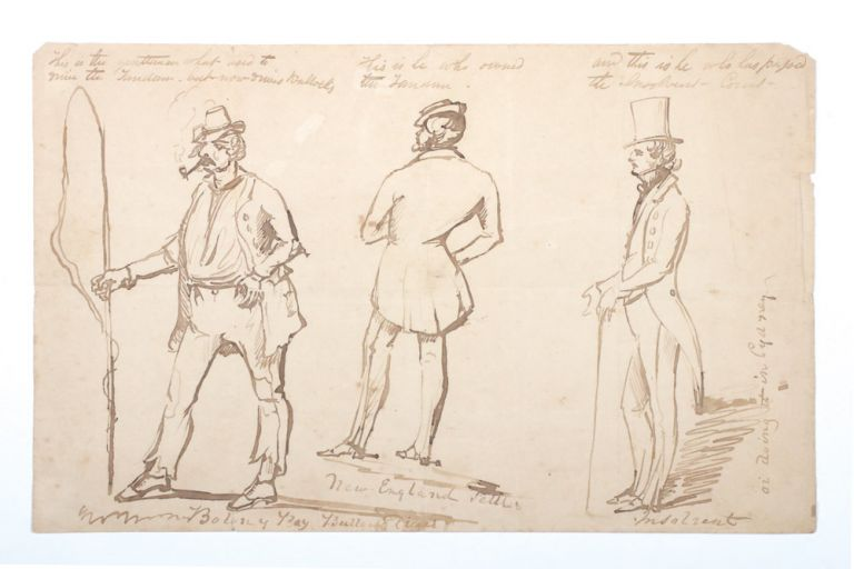 "Unsigned ink caricatures of three men from ""Botany Bay"", ""New England"" and ""Sydney"" NEW SOUTH WALES."