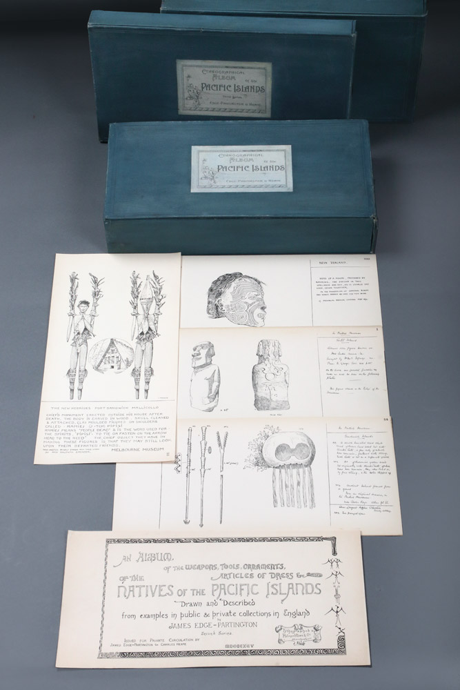 An Album of the Weapons, Tools, Ornaments, Articles of Dress &c of the Natives of the Pacific Islands drawn and described from examples in public and private collections in England [Australasia]. First [-Second-Third] Series. James EDGE-PARTINGTON, Charles HEAPE.