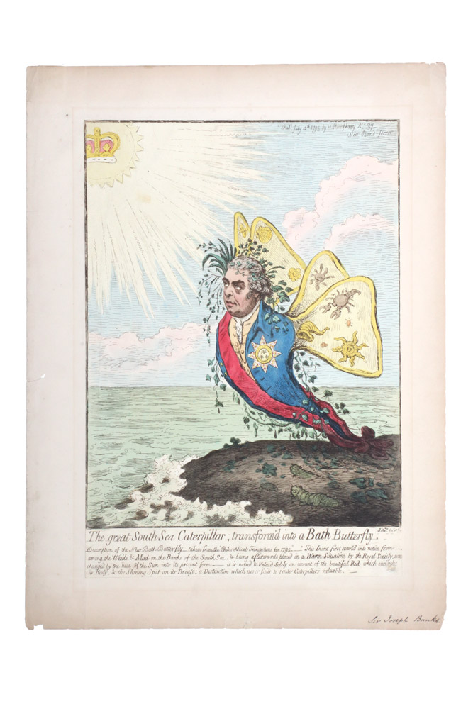 The Great South Sea Caterpillar, transform'd into a Bath Butterfly. BANKS, James GILLRAY.