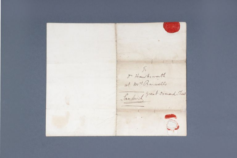 "Autograph letter signed, from the Earl of Sandwich to ""Dr Hawkesworth at Mrs Banwells Great Ormond Street"" COOK: FIRST VOYAGE, John Montagu SANDWICH, fourth Earl."