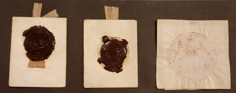 Original seal-impressions from early Grants. MACQUARIE, Governor Lachlan MACQUARIE.