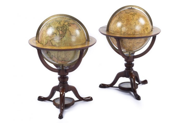 Pair of Globes: Cary's New Terrestrial Globe, delineated from the best authorities extant. Exhibiting the late discoveries towards the North Pole and every improvement in Geography to the present time. [&] Cary's New Celestial Globe on which are correctly laid down upwards of 3,500 stars. Selected from the most accurate observations and calculated for the year 1800. With the extent of each Constellation precisely defined by Mr. Gilpin of the Royal Society. George and John CARY.