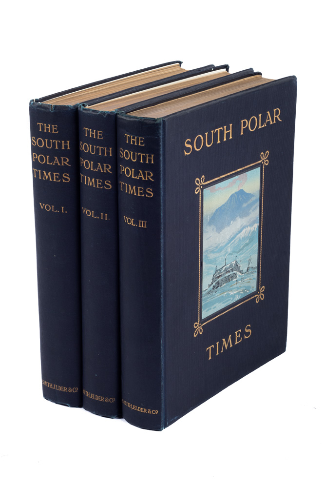 The South Polar Times. Volume I, April to August 1902; Volume II, April to August 1903; Volume III, April to October 1911. Robert Falcon SCOTT, Ernest H. SHACKLETON, Louis BERNACCHI,  Apsley CHERRY-GARRARD, of the three volumes respectively.