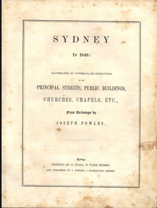 Sydney in 1848: Illustrated by copper-plate engravings…