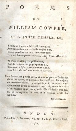 Poems by William Cowper of the Inner Temple.