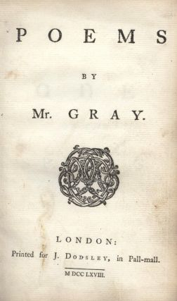 Poems by Mr. Gray. Thomas GRAY