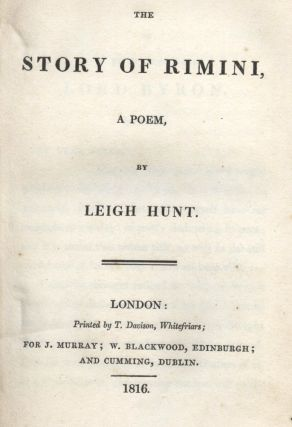 The story of Rimini a poem. Leigh HUNT