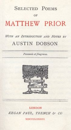 Selected poems with an introduction and notes by Austin Dobson.