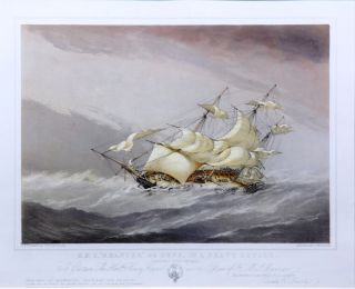 "HMS ""Mæander"" 44 guns, in a heavy squall [and] Shortening sail for anchoring. Sir Oswald Walters..."