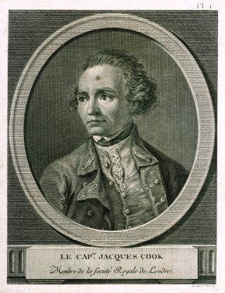 Le Capne. Jacques Cook. Membre de la Societe Royale de Londres. BERNARD, engraver after William HODGES.