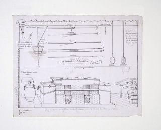 Technical drawing of Whaling equipment. WHALING, FRENCH ARTIST.