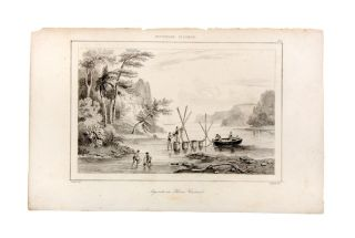Engraving of sailors filling casks at New Ireland, Papua, captioned 'Aiguade au Havre Carteret'....