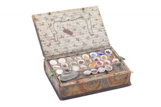 A painters' box made from an eighteenth-century book.