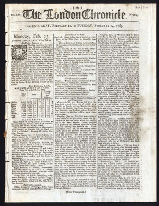Notice of the arrival of the First Fleet in the London Chronicle. FIRST FLEET