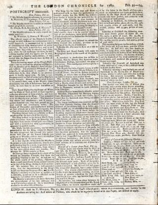 Notice of the arrival of the First Fleet in the London Chronicle.