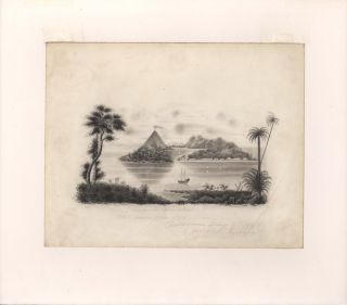 Original landscape study titled 'Banda - The Spice Islands'. J. H. J. CORDNER