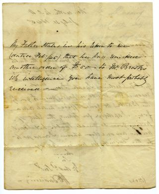 Autograph letter to Robert Towns of Town's Wharf, Sydney.
