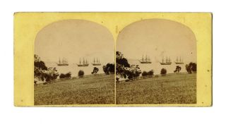 Flying Squadron on the Derwent River. STEREOSCOPE, Samuel CLIFFORD, attributed