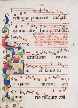 Large illuminated leaf from an Antiphonal centred on the word Jerusalem. Christopher CORTESE,...