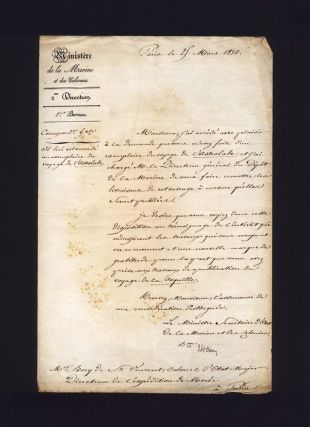 Original letter signed to Bory de Saint-Vincent, granting him access to the reports of the...