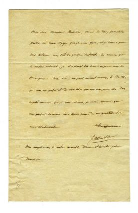 Autograph letter signed to Mr. Chauvin presenting a copy of the official account of his voyage....