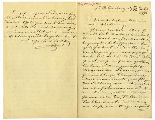 "Autograph letter signed ""Fr. Luetke"", to Russian Privy councillor Von Adelung. Count Fyodor..."