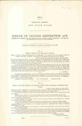 Influx of Chinese Restriction Act. PARLIAMENT OF NEW SOUTH WALES, J. F. BURNS, James, POWELL